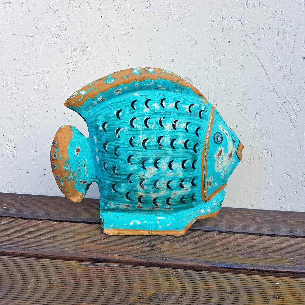 Fisch bunt bemalt aus Metall, zum Stellen, L. 31cm